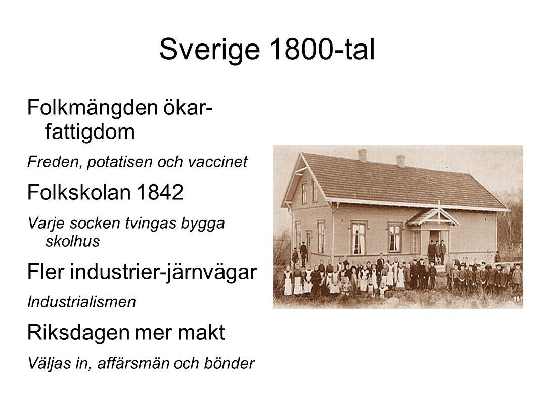 Sverige 1800-tal Folkmängden ökar- fattigdom Folkskolan 1842