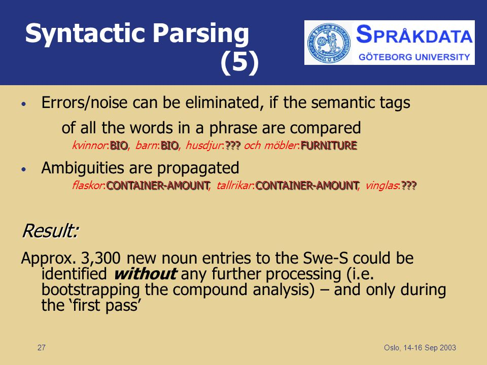 Syntactic Parsing (5) Result: