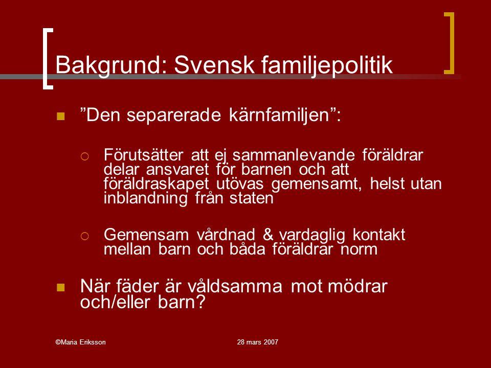 Bakgrund: Svensk familjepolitik