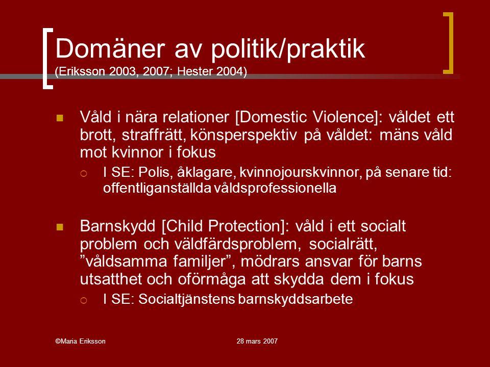Domäner av politik/praktik (Eriksson 2003, 2007; Hester 2004)