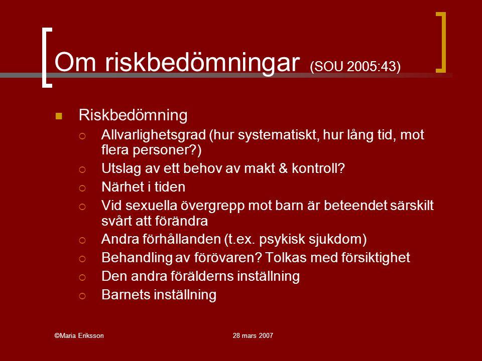 Om riskbedömningar (SOU 2005:43)