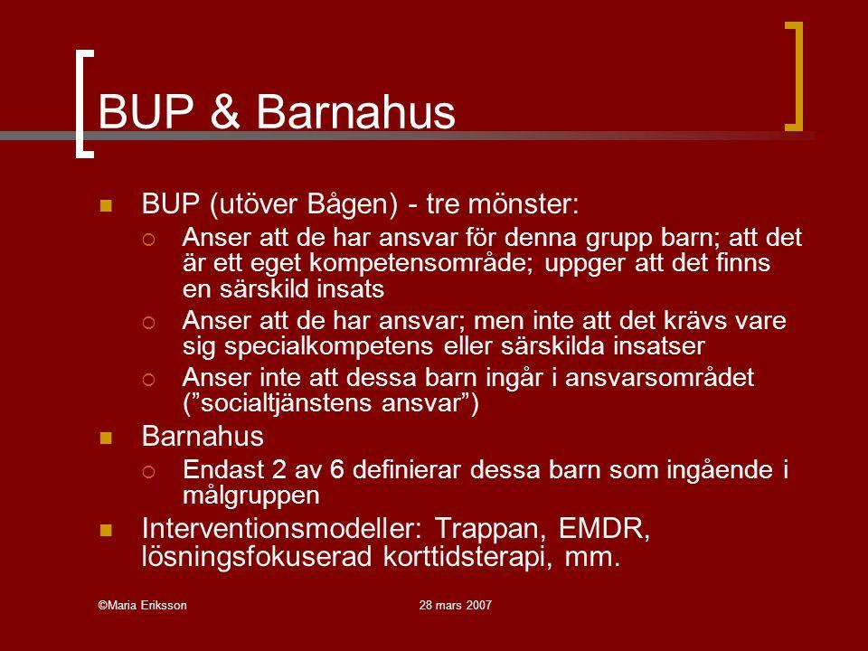 BUP & Barnahus BUP (utöver Bågen) - tre mönster: Barnahus