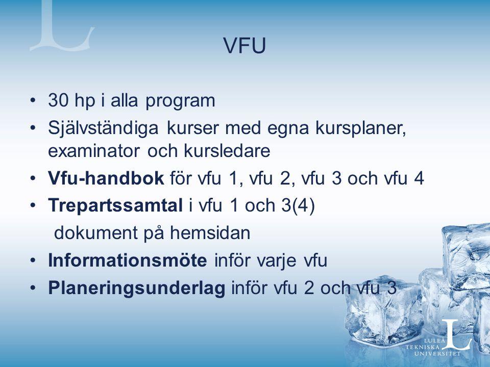 VFU 30 hp i alla program. Självständiga kurser med egna kursplaner, examinator och kursledare. Vfu-handbok för vfu 1, vfu 2, vfu 3 och vfu 4.