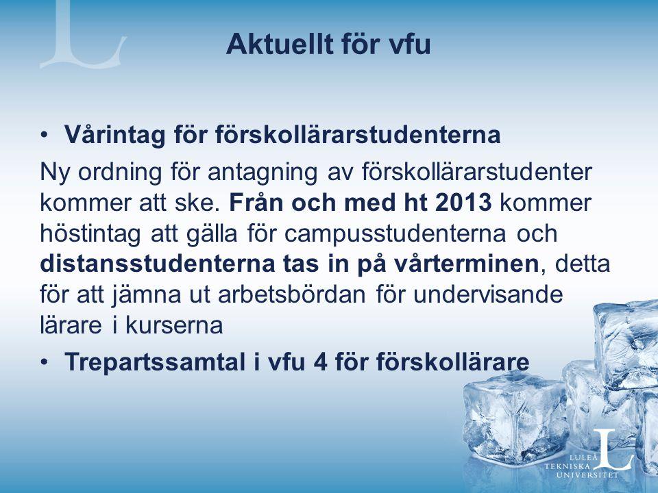 Aktuellt för vfu Vårintag för förskollärarstudenterna
