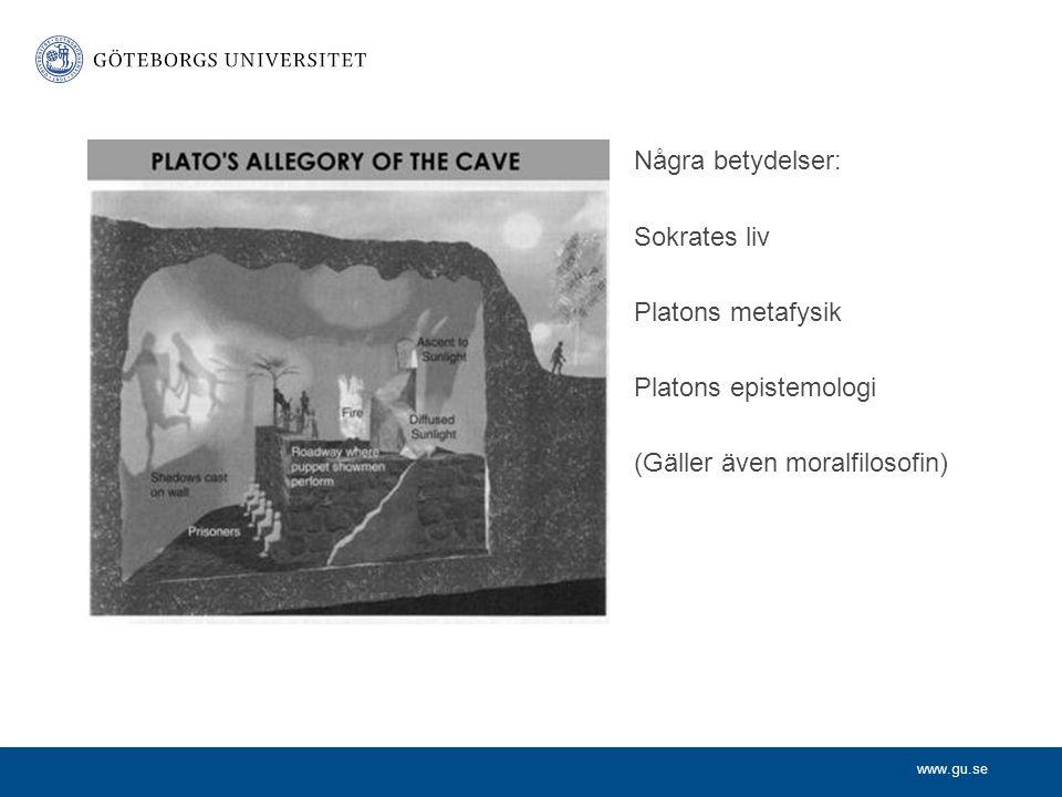 Några betydelser: Sokrates liv Platons metafysik Platons epistemologi (Gäller även moralfilosofin)