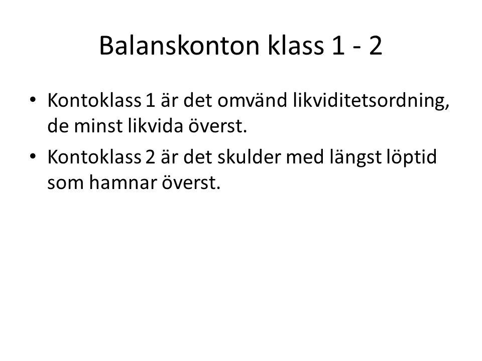 Balanskonton klass 1 - 2 Kontoklass 1 är det omvänd likviditetsordning, de minst likvida överst.