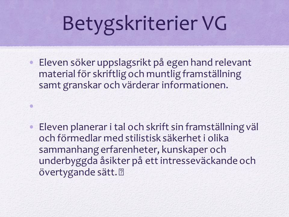 Betygskriterier VG