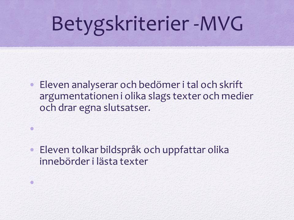 Betygskriterier -MVG Eleven analyserar och bedömer i tal och skrift argumentationen i olika slags texter och medier och drar egna slutsatser.