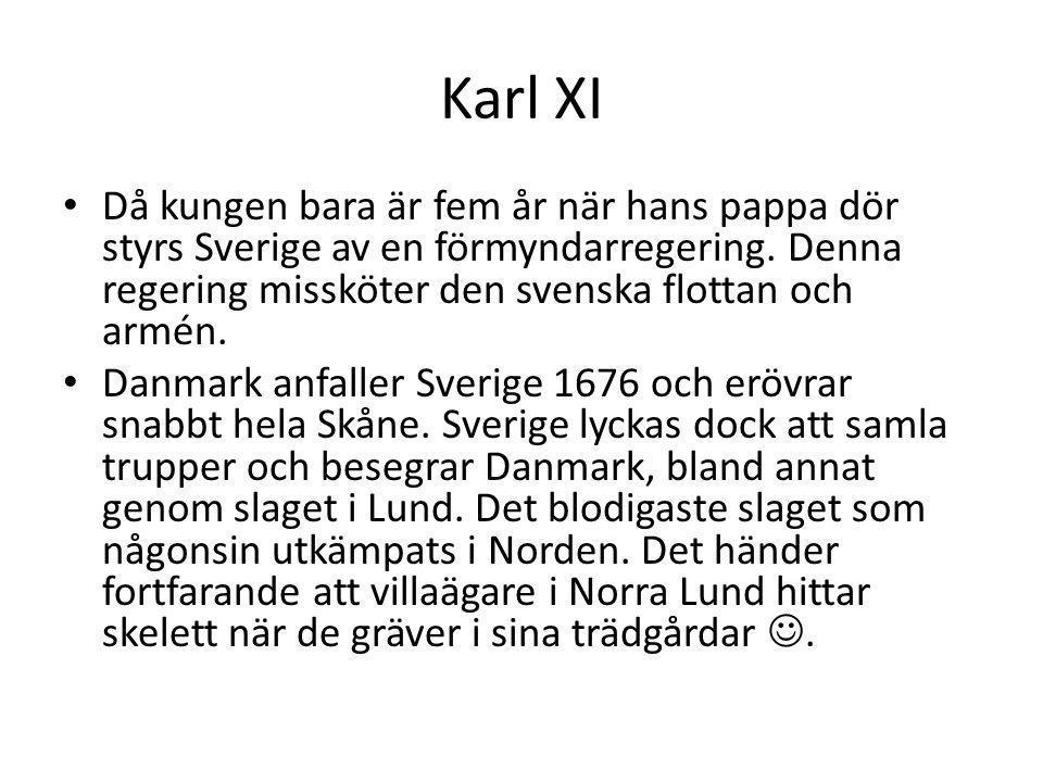Karl XI Då kungen bara är fem år när hans pappa dör styrs Sverige av en förmyndarregering. Denna regering missköter den svenska flottan och armén.
