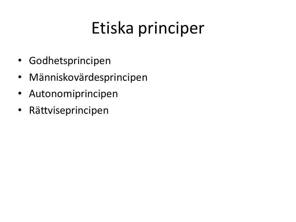 Etiska principer Godhetsprincipen Människovärdesprincipen