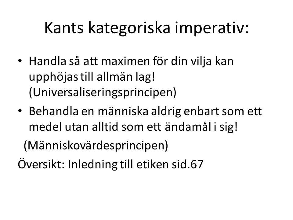 Kants kategoriska imperativ: