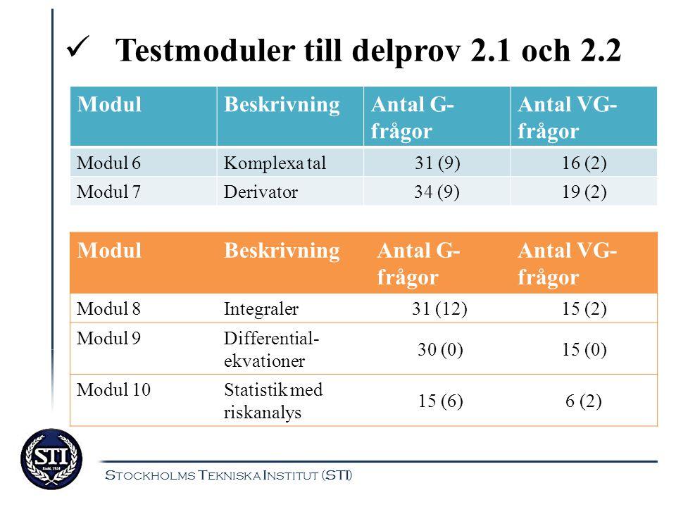 Testmoduler till delprov 2.1 och 2.2