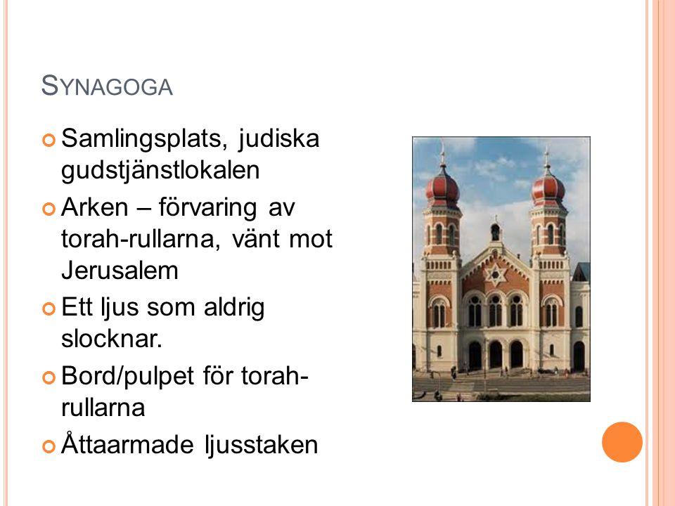 Synagoga Samlingsplats, judiska gudstjänstlokalen