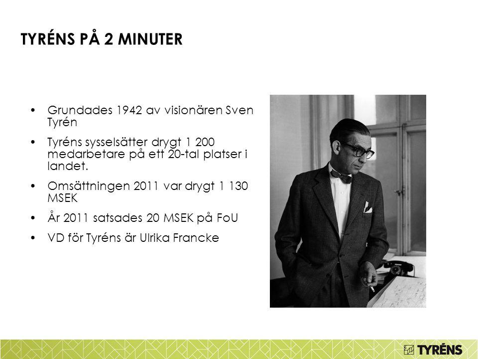 TYRÉNS PÅ 2 MINUTER Grundades 1942 av visionären Sven Tyrén