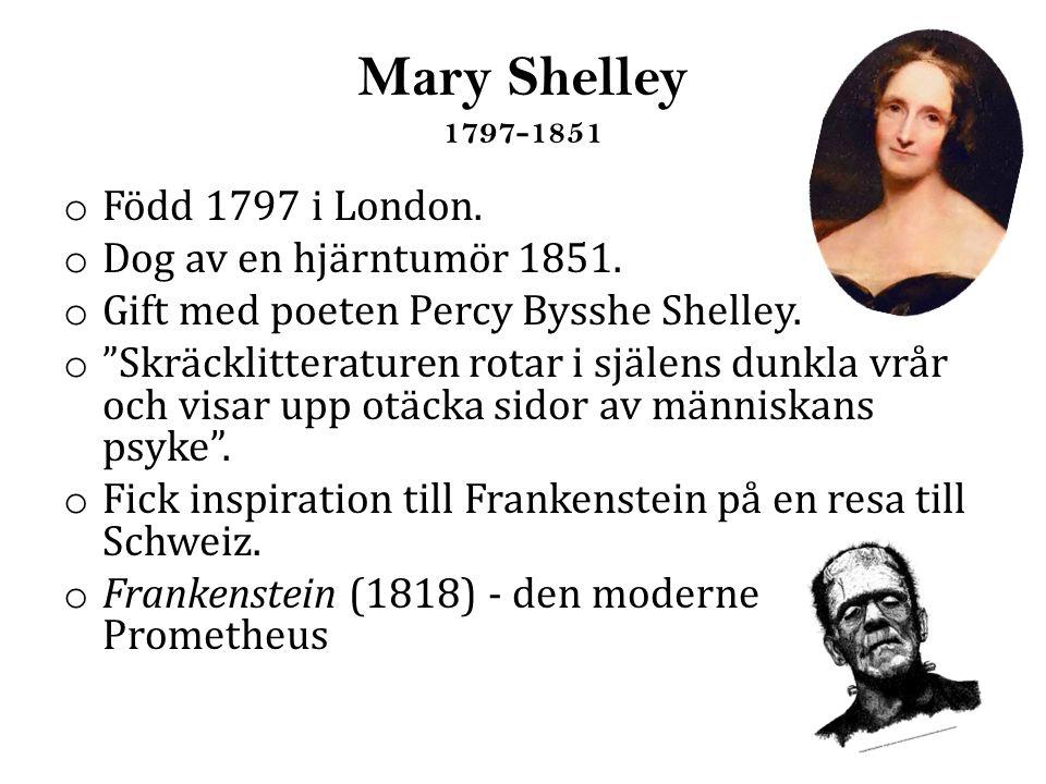 Mary Shelley 1797-1851 Född 1797 i London. Dog av en hjärntumör 1851.