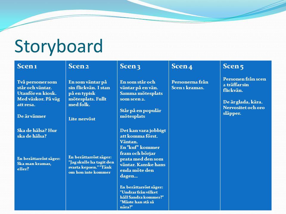 Storyboard Scen 1 Scen 2 Scen 3 Scen 4 Scen 5
