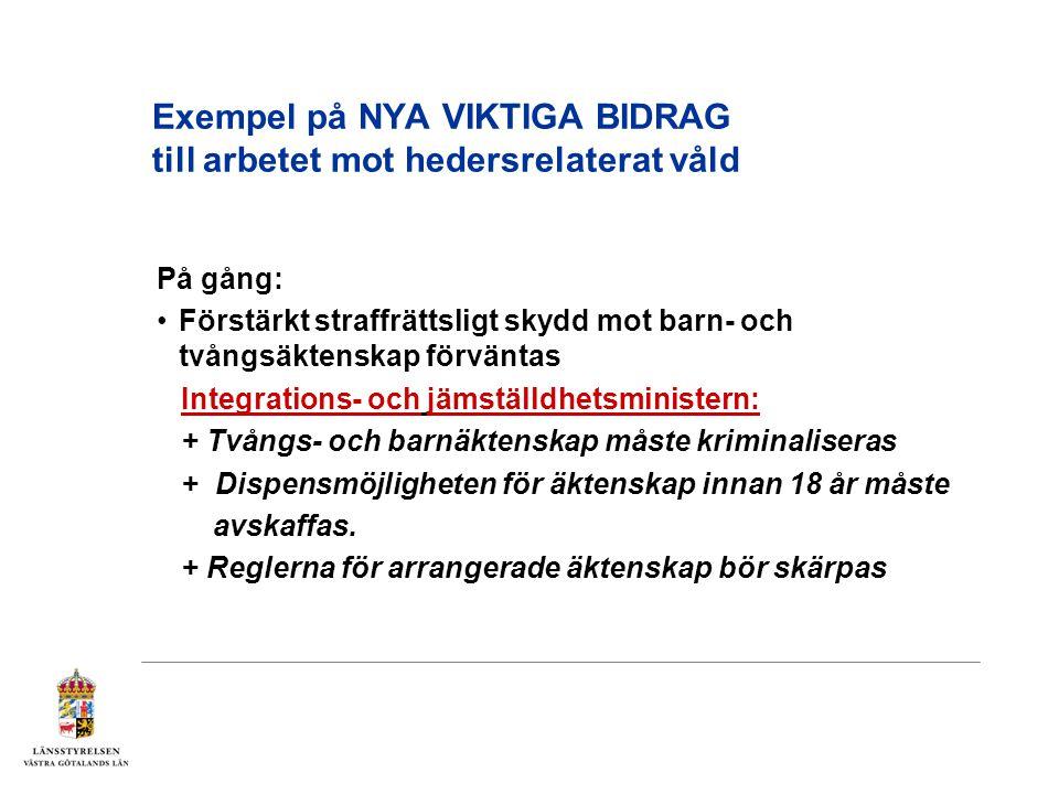 Exempel på NYA VIKTIGA BIDRAG till arbetet mot hedersrelaterat våld