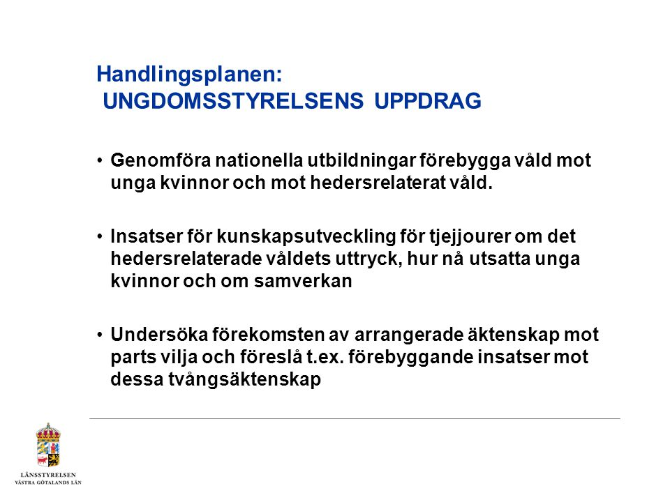 Handlingsplanen: UNGDOMSSTYRELSENS UPPDRAG