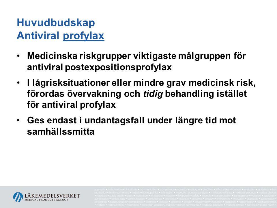 Huvudbudskap Antiviral profylax