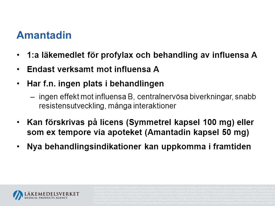 Amantadin 1:a läkemedlet för profylax och behandling av influensa A