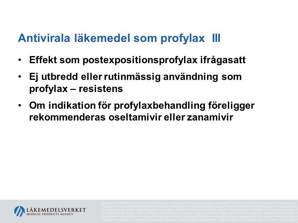Antivirala läkemedel som profylax III