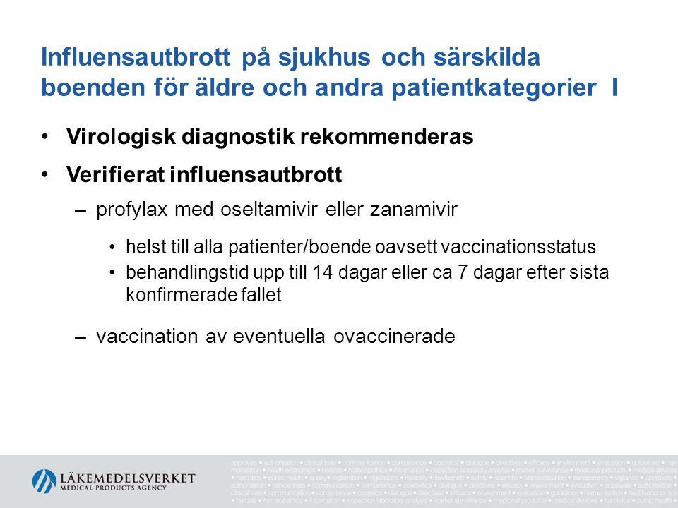 Influensautbrott på sjukhus och särskilda boenden för äldre och andra patientkategorier I