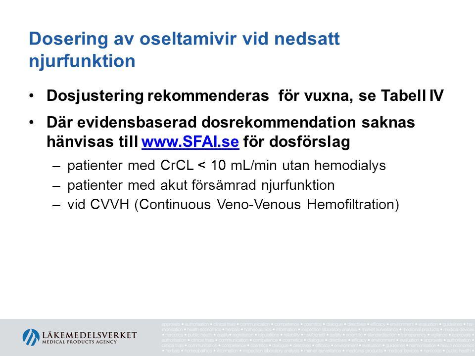 Dosering av oseltamivir vid nedsatt njurfunktion