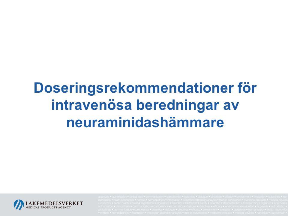 Doseringsrekommendationer för intravenösa beredningar av neuraminidashämmare