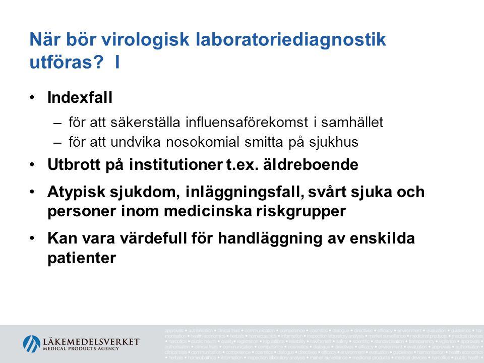 När bör virologisk laboratoriediagnostik utföras I