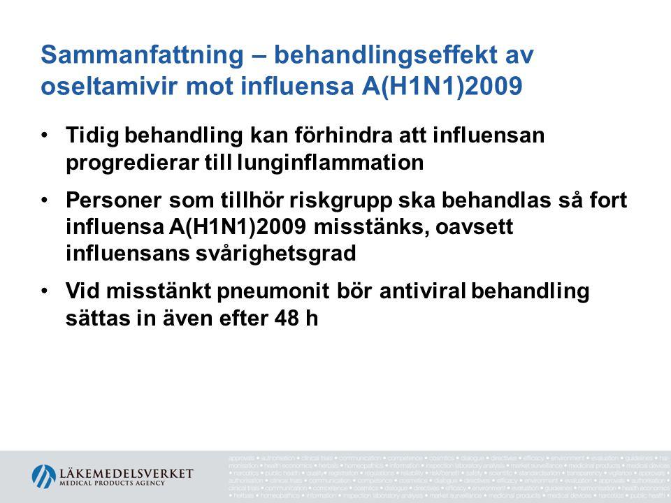 Sammanfattning – behandlingseffekt av oseltamivir mot influensa A(H1N1)2009