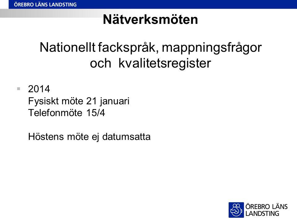 Nätverksmöten Nationellt fackspråk, mappningsfrågor och kvalitetsregister