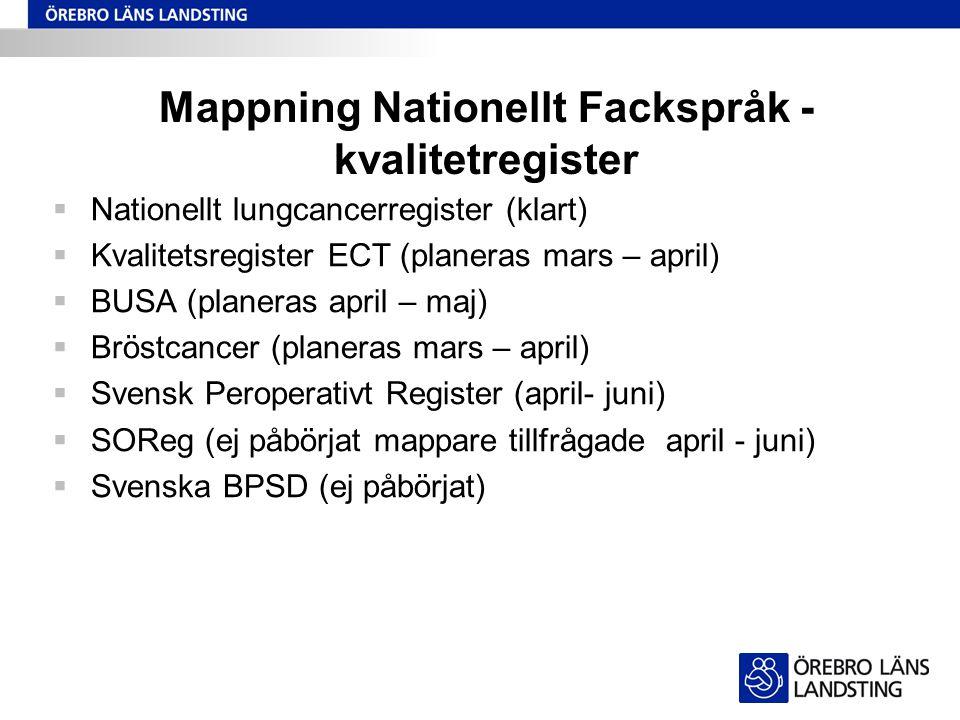 Mappning Nationellt Fackspråk - kvalitetregister