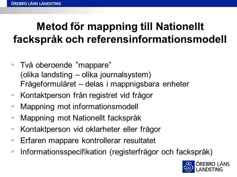 Metod för mappning till Nationellt fackspråk och referensinformationsmodell