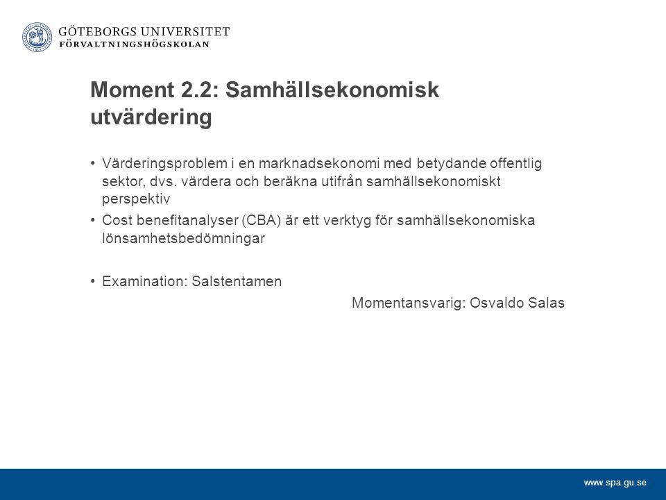 Moment 2.2: Samhällsekonomisk utvärdering