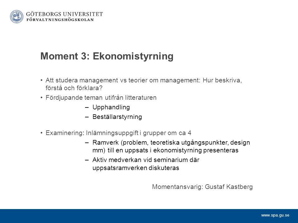 Moment 3: Ekonomistyrning