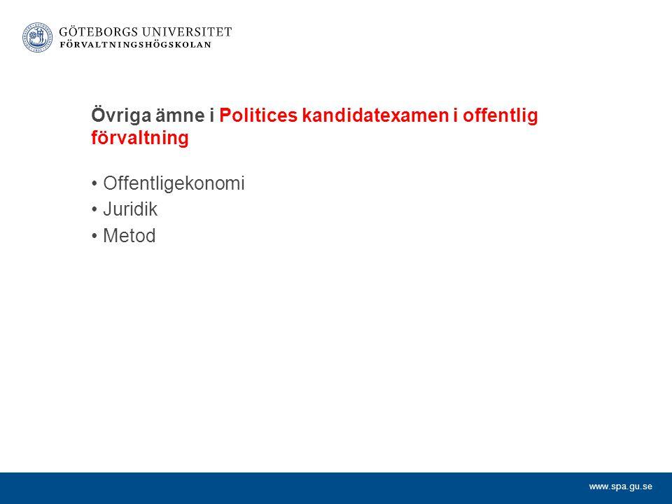 Övriga ämne i Politices kandidatexamen i offentlig förvaltning