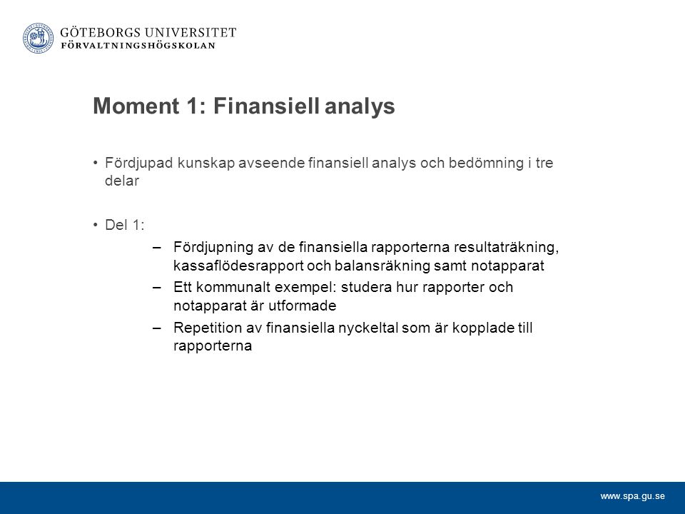 Moment 1: Finansiell analys