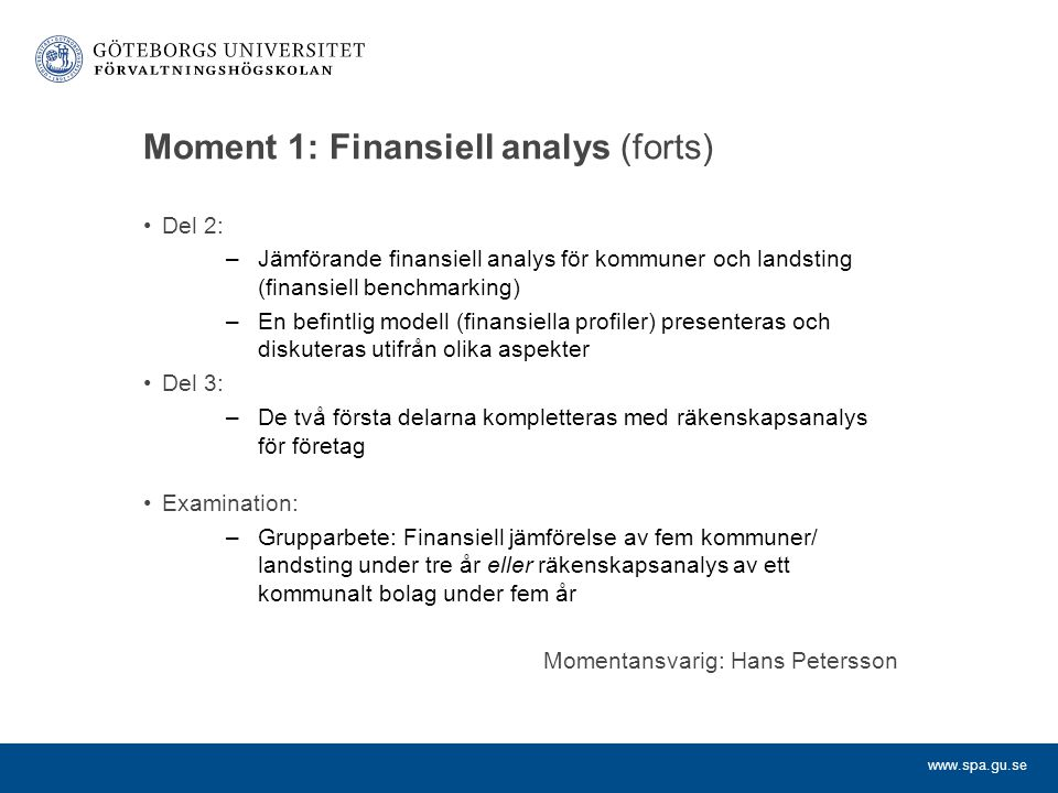 Moment 1: Finansiell analys (forts)