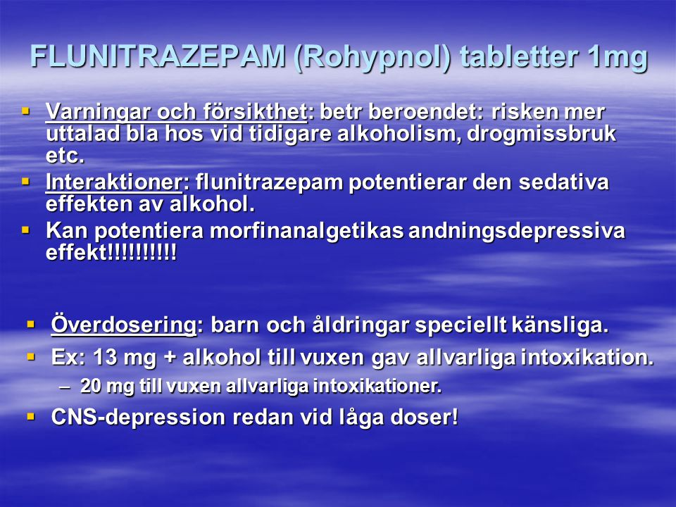 FLUNITRAZEPAM (Rohypnol) tabletter 1mg