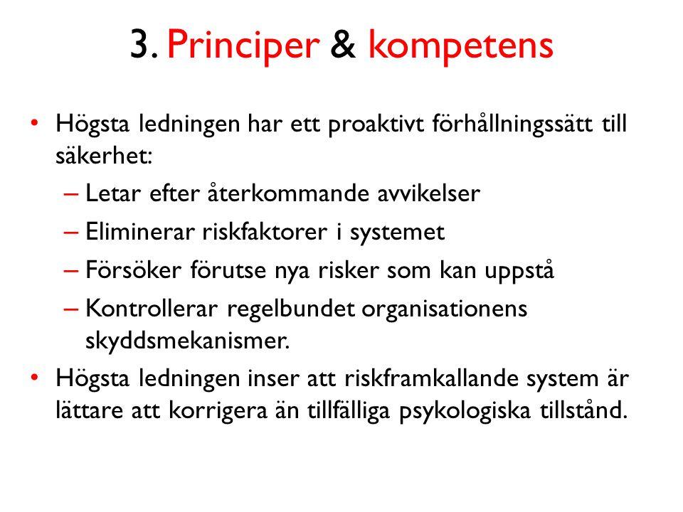 3. Principer & kompetens Högsta ledningen har ett proaktivt förhållningssätt till säkerhet: Letar efter återkommande avvikelser.