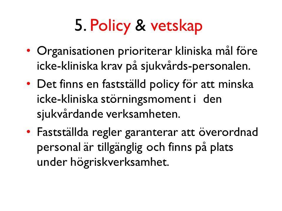 5. Policy & vetskap Organisationen prioriterar kliniska mål före icke-kliniska krav på sjukvårds-personalen.