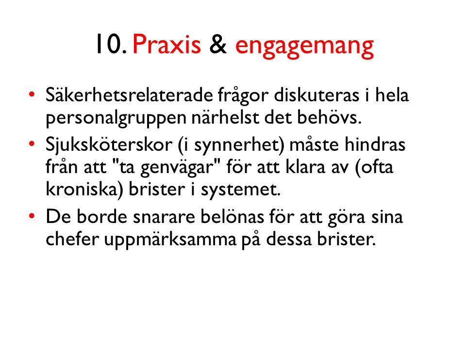 10. Praxis & engagemang Säkerhetsrelaterade frågor diskuteras i hela personalgruppen närhelst det behövs.
