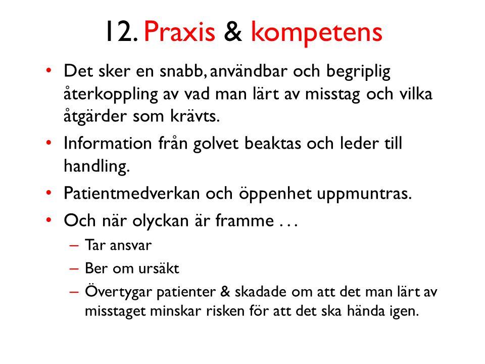 12. Praxis & kompetens Det sker en snabb, användbar och begriplig återkoppling av vad man lärt av misstag och vilka åtgärder som krävts.