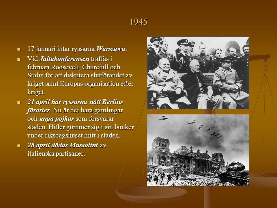 1945 17 januari intar ryssarna Warszawa.