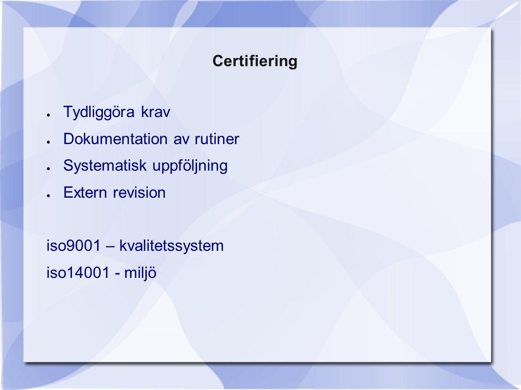 Certifiering Tydliggöra krav. Dokumentation av rutiner. Systematisk uppföljning. Extern revision.