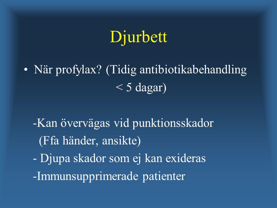 Djurbett När profylax (Tidig antibiotikabehandling < 5 dagar)