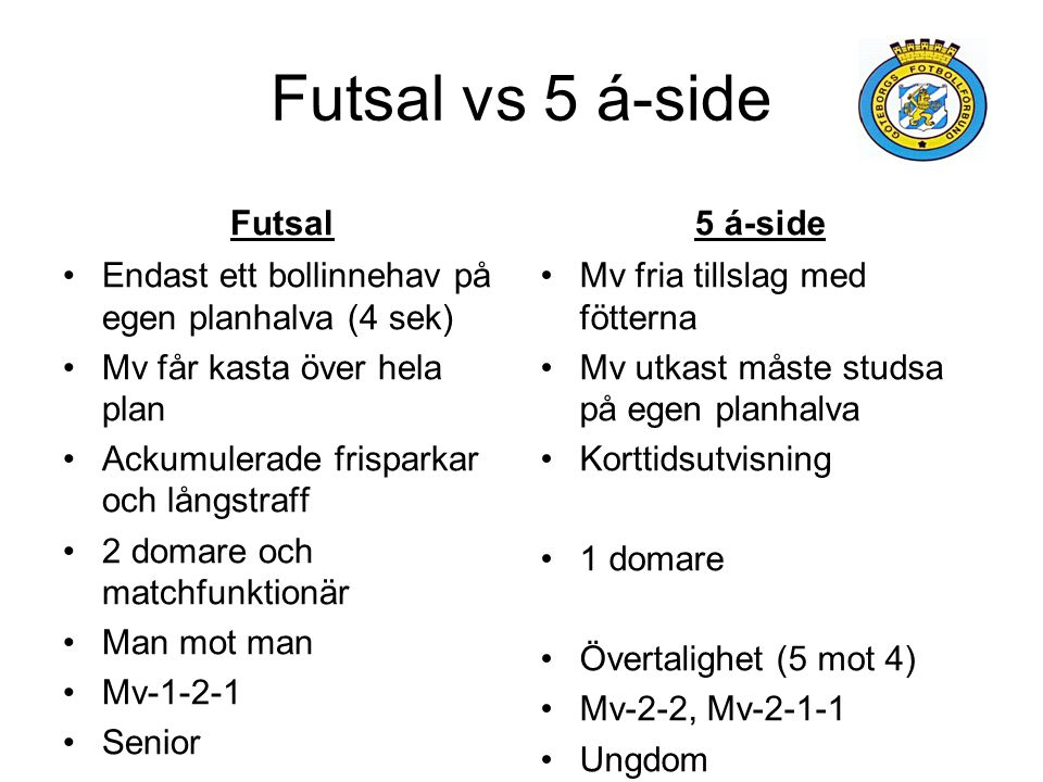Futsal vs 5 á-side Futsal 5 á-side