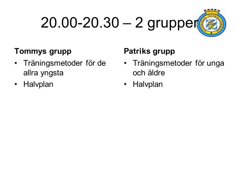 20.00-20.30 – 2 grupper Tommys grupp Patriks grupp