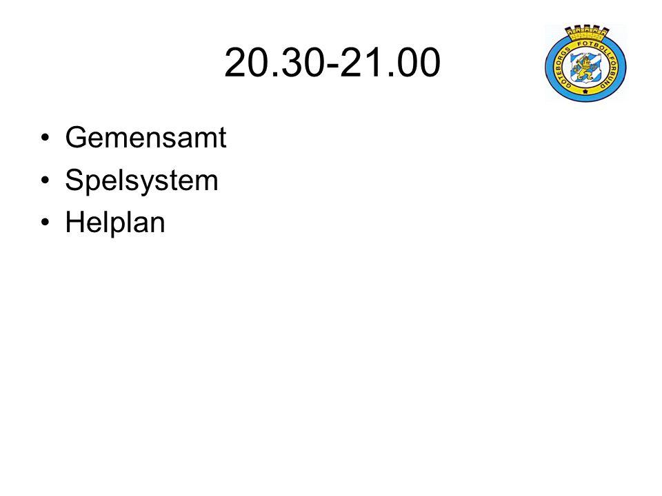 20.30-21.00 Gemensamt Spelsystem Helplan