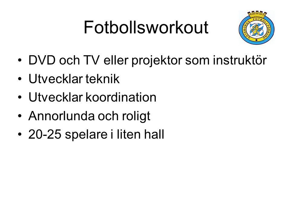Fotbollsworkout DVD och TV eller projektor som instruktör